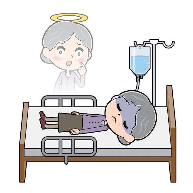 Out Line Purple Noszą Babcię Death Premium Wektorów