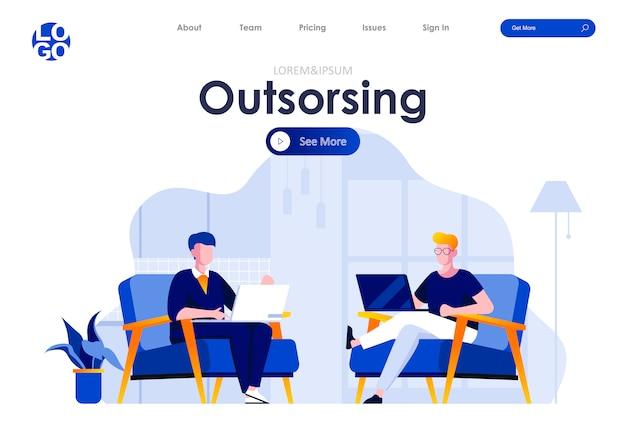 Outsourcing Usługi Płaski Szablon Strony Docelowej Projektowanie Stron Internetowych Premium Wektorów