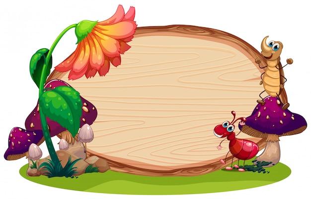 Owad na drewnianej desce Premium Wektorów
