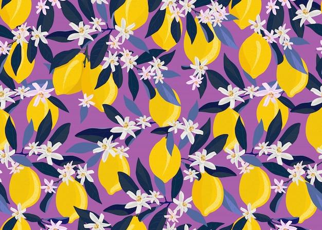 Owoce Cytryny Wzór Z Kwiatów I Liści Premium Wektorów