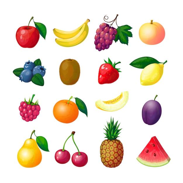 Owoce I Jagody Kreskówek. Jabłko Banan Winogrono Brzoskwinia Borówka Kiwi Cytryna Truskawka Malina Melon śliwka Gruszka Ananasowy Zestaw Premium Wektorów