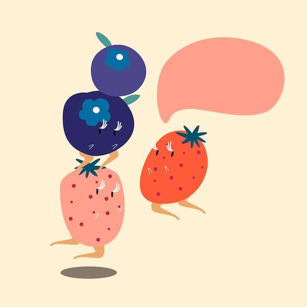 Owoce jagodowe z pustą dymek postać z kreskówki Darmowych Wektorów