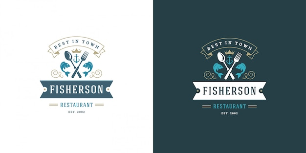 Owoce Morza Logo Lub Znak Wektor Ilustracja Rynku Rybnego I Restauracja Godło Szablon Projektu Ryb Premium Wektorów