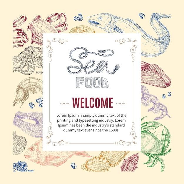 Owoce Morza Ręcznie Rysowane Zaproszenie Darmowych Wektorów