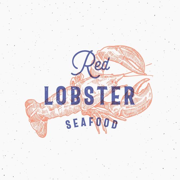Owoce Morza Red Lobster. Karta Z Efektem Druku Retro. Premium Wektorów