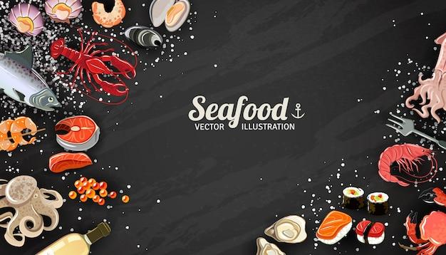 Owoce morza tło z rybimi krewetkami i suszi delikatności ilustracją Darmowych Wektorów