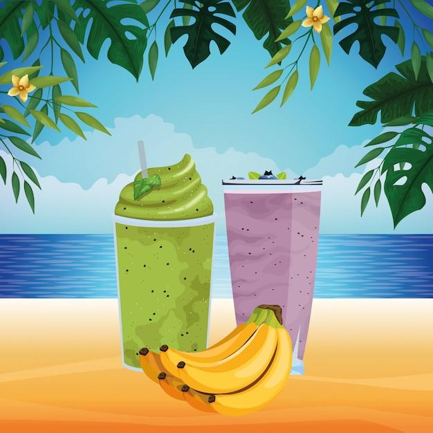 Owoce tropikalne i napój smoothie Darmowych Wektorów