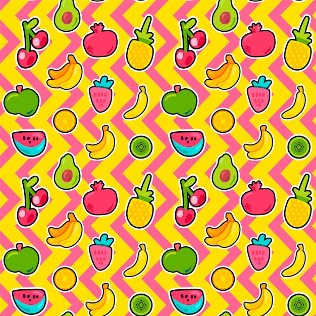 Owoce Tropikalne, Jagody Wzór Premium Wektorów