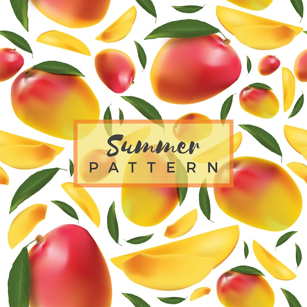 Owoce Tropikalne Mango Wzór Premium Wektorów