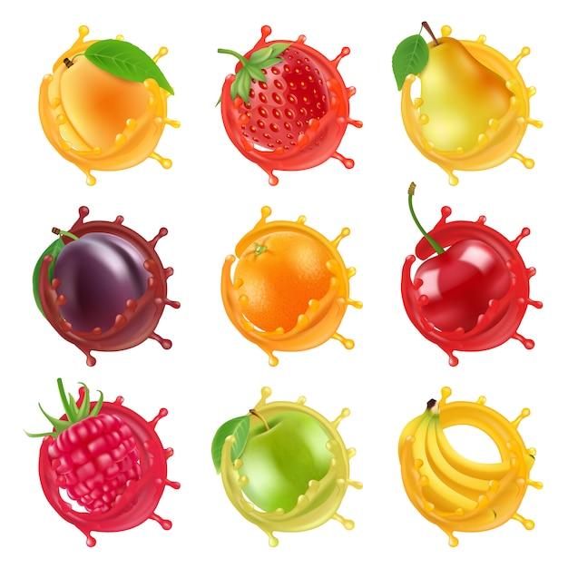 Owoce w soczystych plamach. realistyczne zdjęcia wektorowe świeżych owoców Premium Wektorów