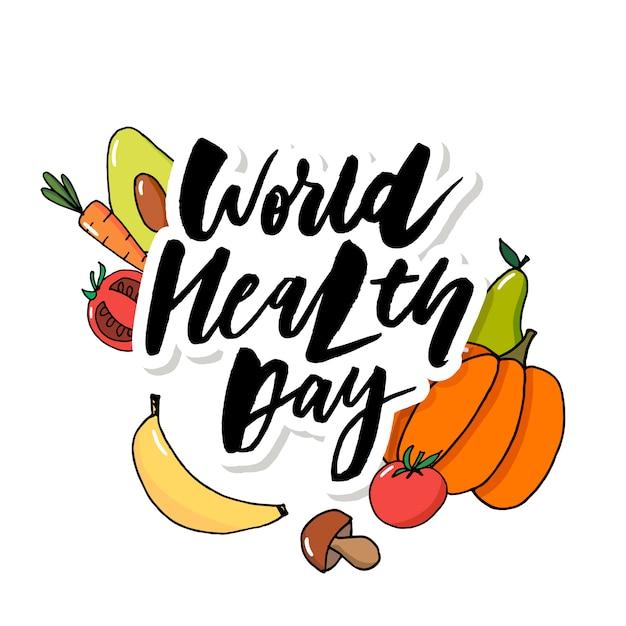 Owoce Warzyw światowego Dnia Zdrowia Premium Wektorów