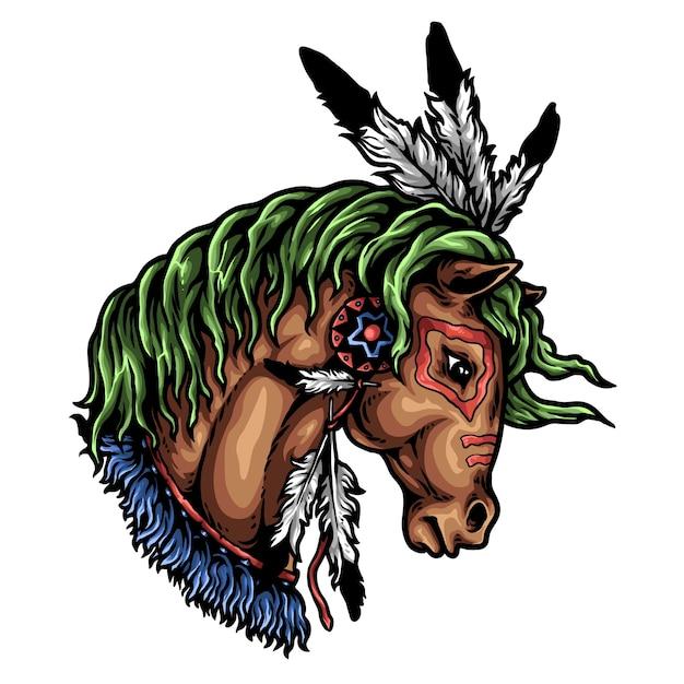 Ozdoba Głowa Konia Premium Wektorów
