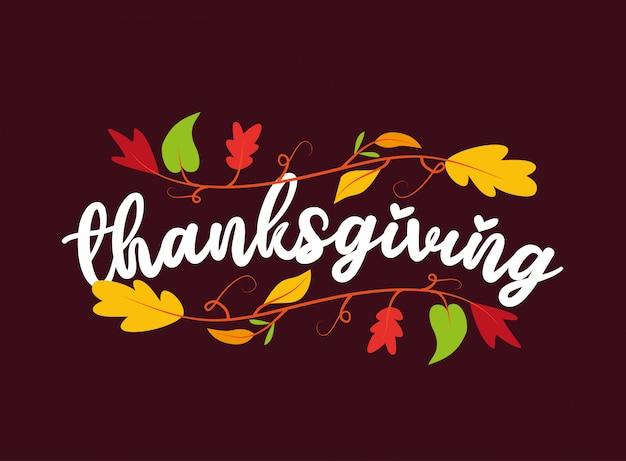 Ozdoba Na święto Dziękczynienia Z Jesiennych Liści Oddziałów Dzięki Karcie Premium Wektorów