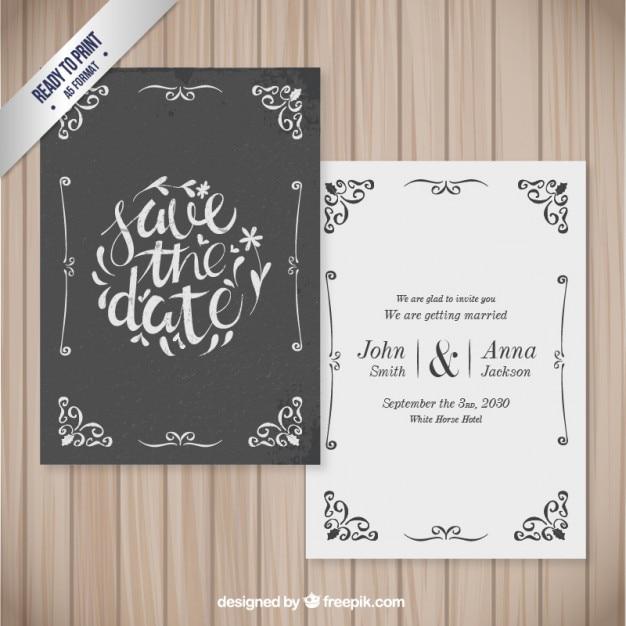 Ozdobne karty ślub w stylu retro Premium Wektorów