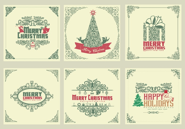 Ozdobne kwadratowe zimowe kartki z życzeniami z drzewem noworocznym, szkatułką, ozdoby świąteczne, ramki wirowe i typograficzne Premium Wektorów