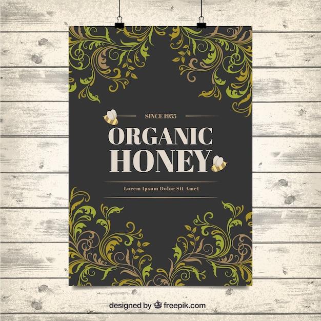 Ozdobne Liście Organiczny Miód Plakat Darmowych Wektorów