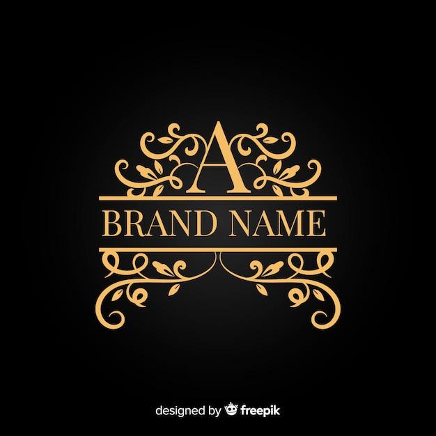Ozdobne logo złotej eleganckiej firmy Darmowych Wektorów