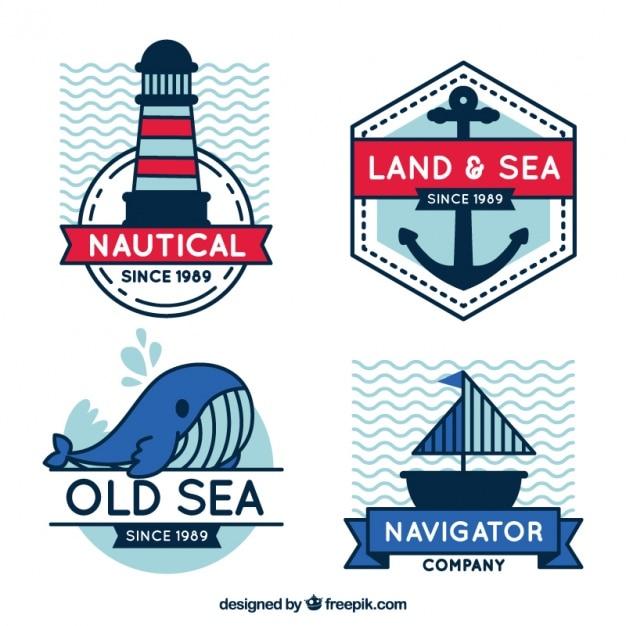 Ozdobne plakietki z elementów marynarz w płaskiej konstrukcji Darmowych Wektorów