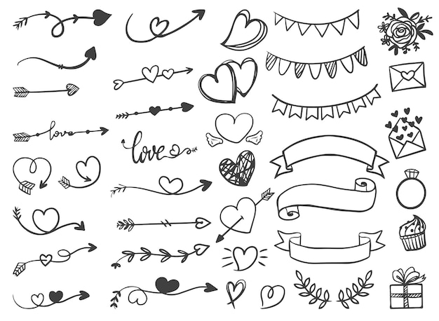 Ozdobne Wstążki Strzałek Valentine I Wesele Ręcznie Rysowane Grafiki Liniowej Darmowych Wektorów