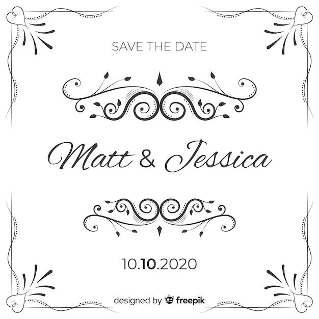 Ozdobne zapisać datę ślubu invitatio Darmowych Wektorów
