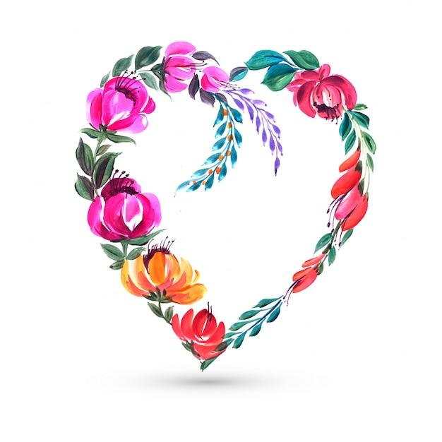 Ozdobny Kolorowy Kwiat Walentynki Karta Kształt Serca Darmowych Wektorów