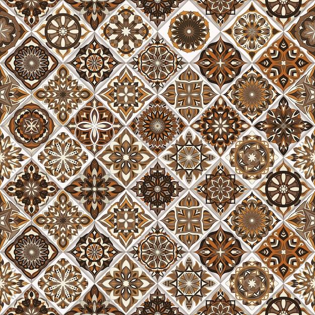 Ozdobny Kwiatowy Tekstura, Niekończące Się Wzór Z Elementami Mandali Vintage. Premium Wektorów