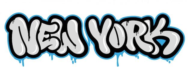 Ozdobny Pamiątkowy Napis Wandal Ze Słynnym Miastem Nowy Jork W Stylu Bombardowania Graffiti Na ścianie Za Pomocą Farby W Sprayu W Aerozolu Napis W Stylu Ulicy Na Okładce Plakatu Drukuj Naklejkę Na Ubrania. Premium Wektorów