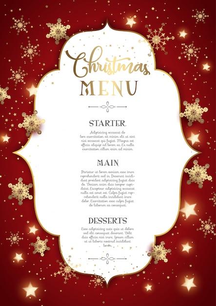 Ozdobny świąteczny wygląd menu Darmowych Wektorów
