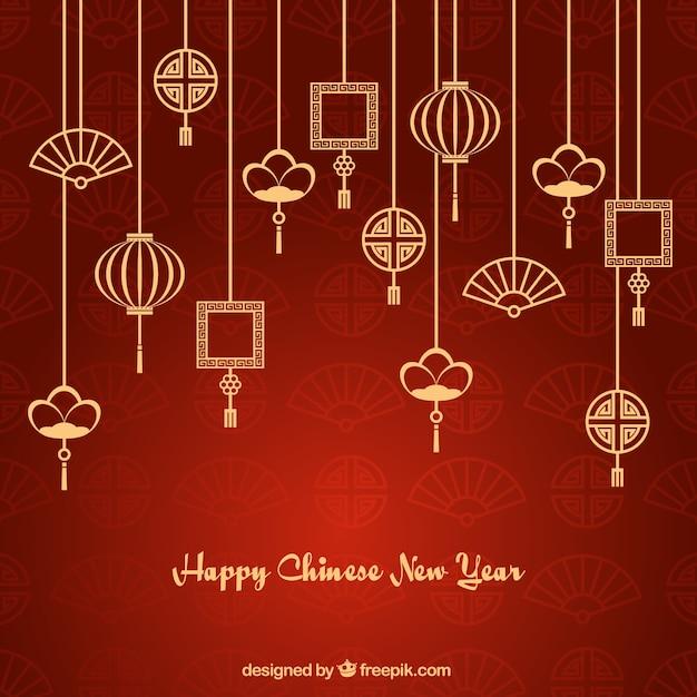 Ozdoby azji girlandy nowy rok tle Darmowych Wektorów