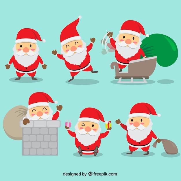 Płaski piękne Mikołaj z akcesoriami Darmowych Wektorów