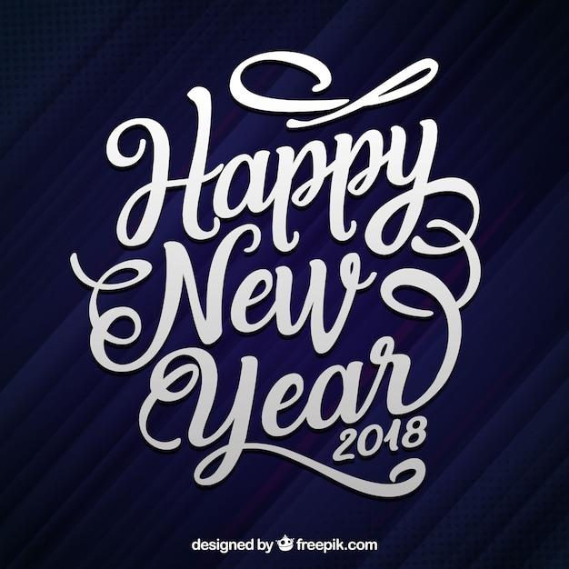 Płaskie ręcznie rysowane napis szczęśliwego nowego roku 2018 Darmowych Wektorów