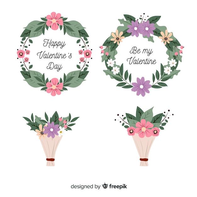 Płaskie walentynkowe wieńce kwiatowe i bukiety Darmowych Wektorów