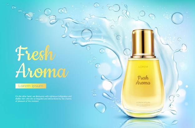 Pachnidło świeży aromat w szklanej butelce z wodnym pluśnięciem na błękitnym zamazanym tle. Darmowych Wektorów