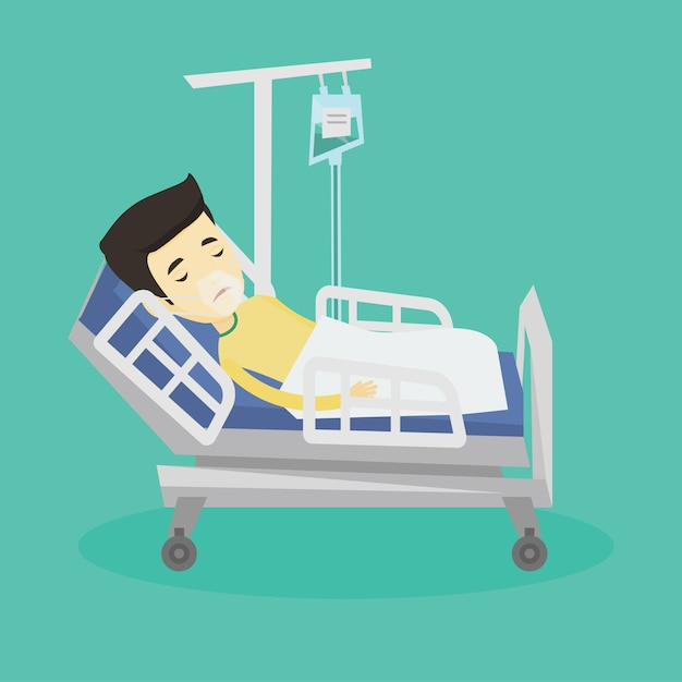 Pacjent Leżący W łóżku Szpitalnym Z Maską Tlenową. Premium Wektorów