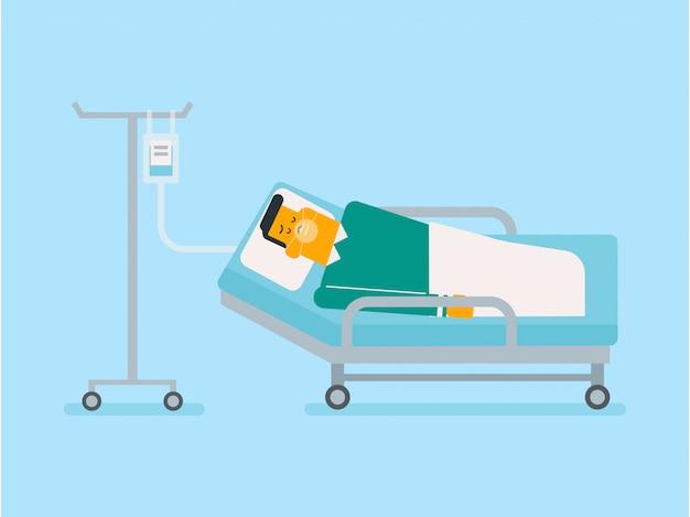 Pacjent Leży W Szpitalnym łóżku Z Maską Tlenową. Premium Wektorów