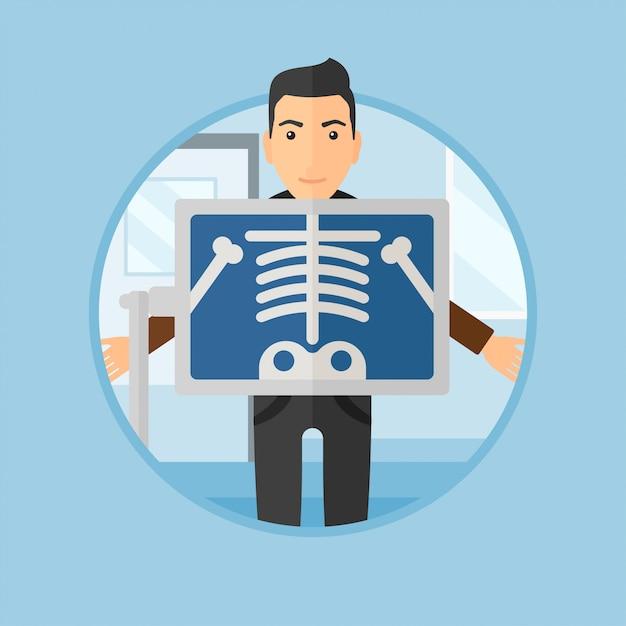 Pacjent Podczas Zabiegu X Ray. Premium Wektorów
