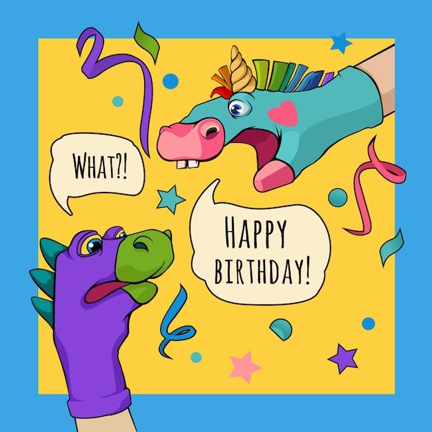 Pacynka ręczna dragon and unicorn mówią o happy birthday Premium Wektorów