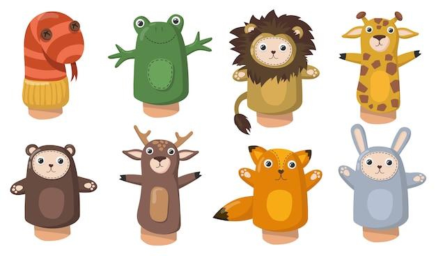 Pacynki śmieszne Zwierzę Ręka Płaski Zestaw Do Projektowania Stron Internetowych. Zabawki Z Kreskówek Ze Skarpet Dla Dzieci Na Białym Tle Kolekcja Ilustracji Wektorowych. Pokaż I Koncepcja Kina Domowego Darmowych Wektorów