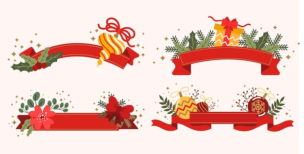 Paczka Czerwonych Wstążek Bożonarodzeniowych Darmowych Wektorów