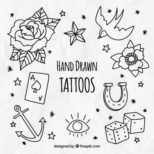 Paczka dekoracyjne ręcznie rysowane tatuażami Darmowych Wektorów