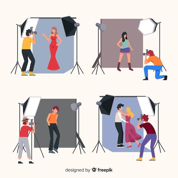 Paczka fotografów wykonujących różne zdjęcia Darmowych Wektorów