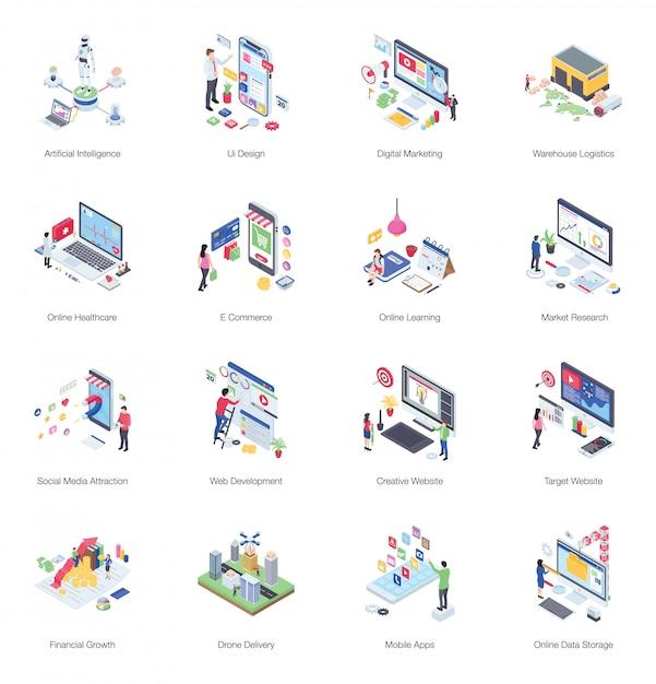 Paczka Ilustracji Izometryczny Buiness Premium Wektorów