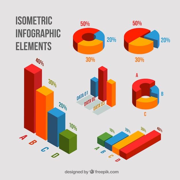 Paczka izometrycznych wykresów Darmowych Wektorów