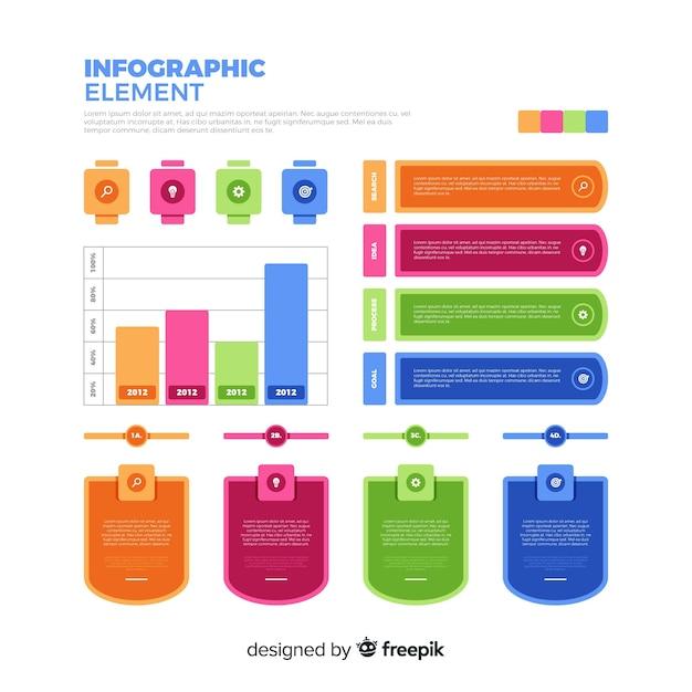 Paczka kolorowych elementów infographic Darmowych Wektorów