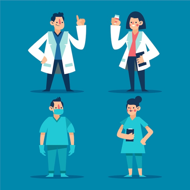 Paczka Lekarzy I Pielęgniarki Na Pierwszej Linii Darmowych Wektorów