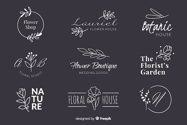 Paczka logo ślubnej kwiaciarni Darmowych Wektorów