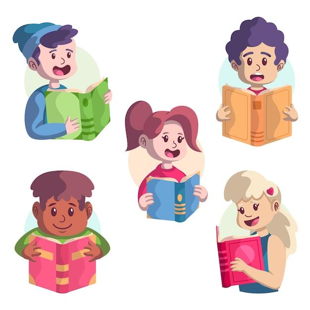 Paczka młodych ludzi czytających Darmowych Wektorów