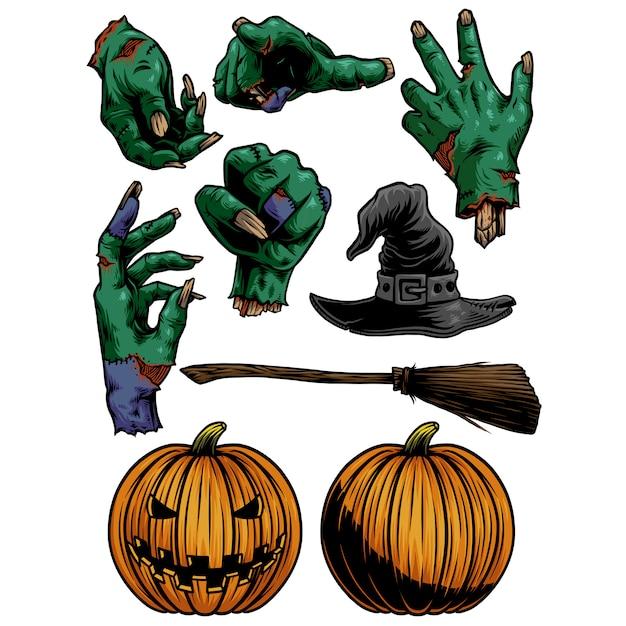 Paczka Na Halloween Z Rękami Zombie I Rzeźbionymi Pompkami Premium Wektorów