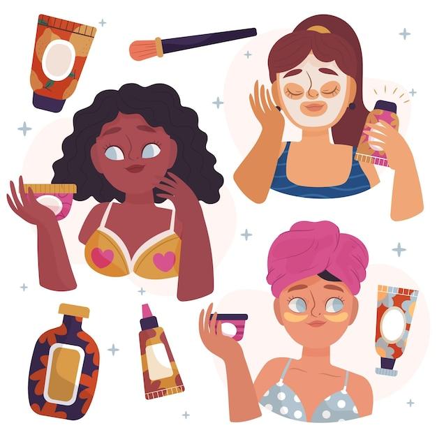 Paczka Narysowanych Kobiet Wykonujących Swoją Rutynową Pielęgnację Skóry Darmowych Wektorów
