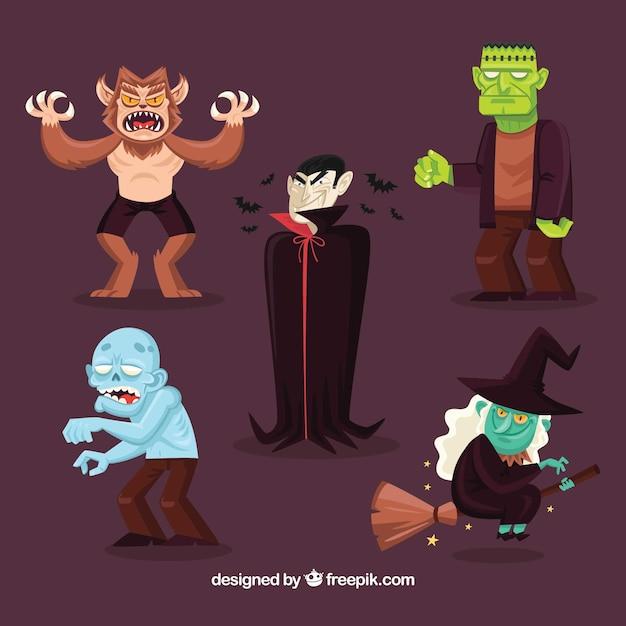 Paczka pięciu znaków halloween Darmowych Wektorów